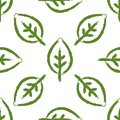 Seamless pattern with leaves painted by brush. Bio, Eco, Organic template. Royalty Free Stock Photo