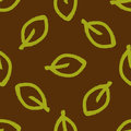 Seamless pattern with leaves painted by hand rough brush. Grunge, sketch, graffiti. Royalty Free Stock Photo