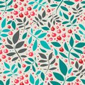 Seamless pattern with leaves and red berries Stock Photos