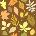 Seamless pattern with leaves silhouettes different Stock Photo