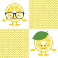 Seamless pattern with lemon cute smile character in glasses
