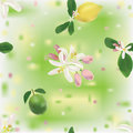 Seamless pattern with lemon, lime and flowers Royalty Free Stock Photo