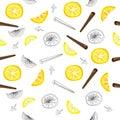 Seamless pattern of lemon slices