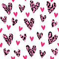 Seamless pattern with leopard hearts, trendy design, vector illustration background.