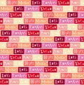 Seamless pattern with lettering of Love, Peace, Dream, Soul, Hope, Music, Romance on colorful background