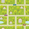 Seamless pattern with light asphalt and houses vector cityscape eps Royalty Free Stock Photos