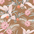 Seamless pattern, light vintage colors Ficus Elastica leaves and hibiscus flowers on light brown background. Royalty Free Stock Photo