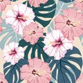 Seamless pattern, light vintage colors, palm monstera leaves and hibiscus flowers on dark peach background. Royalty Free Stock Photo