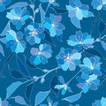 Seamless pattern with lilac and blue flowers Stock Image