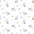 Seamless pattern with lilac flowers vector illust branches of on a white background Royalty Free Stock Photos