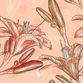 Seamless pattern with lilies Royalty Free Stock Images