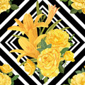 Seamless pattern of lilies flower with yellow rose on black and white graphic geometric background. Royalty Free Stock Photo