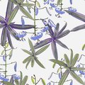 Seamless pattern, lilies flowers and green exotic plants on light background