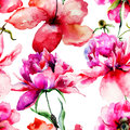 Seamless pattern with Lily and Peony flowers illustration Stock Photos