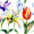 Seamless pattern with Lily and Tulips flowers Royalty Free Stock Photo