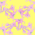 Seamless pattern with lily on a yellow background. vector illust Royalty Free Stock Photo