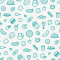 Seamless Pattern With Line Icons of Food Like Sausage, Cake, Donut, Croissant, Bacon, Muffins, Coffee, Salad etc.