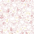 Seamless pattern with linear funny pigs. Vector. Royalty Free Stock Photo