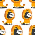 Seamless pattern with lions who speak roar Royalty Free Stock Photo