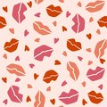 Seamless pattern with lips and hearts on a light pink background