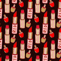Seamless pattern with lipstick and nail varnishes Royalty Free Stock Photo