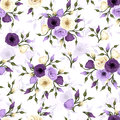 Seamless pattern with lisianthus flowers purple and white Royalty Free Stock Photos