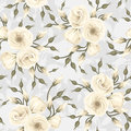 Seamless pattern with lisianthus flowers vector white on blue Stock Photography