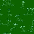 Seamless pattern little girls little boys like as image light blue chalk green chalkboard Stock Photography
