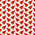 Seamless Pattern Melon Pieces Red Green Black