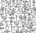 Seamless pattern of little monsters.