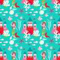 Seamless pattern with little princess mermaid with castle.