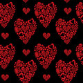 Seamless pattern with little red heart embroidery stitches imita