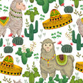 Seamless pattern with llama animal, sombrero, cacti and floral elements.