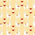 Seamless pattern with llamas in poncho and graphic elements. Trendy cartoon print.