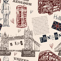 Seamless pattern with London landmark symbols. Vintage hand drawn vector illustration Royalty Free Stock Photo