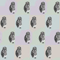 Seamless pattern with looking black and white tawny owl