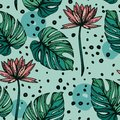 Seamless pattern with lotus flowers, monstera leves and hand drawn dots