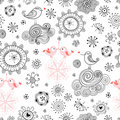 Seamless pattern of love birds and flowers Stock Images