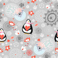 Seamless pattern love penguins Royalty Free Stock Images