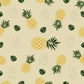 Seamless Pattern love pineapple fruit with palm leaf Royalty Free Stock Photo