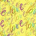 Seamless pattern with love text on yellow background. Rainbow love text. Pride pattern. LGBTQ concept. Print, packaging, wallpaper