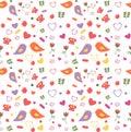 Seamless pattern of lovebirds
