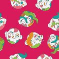 Seamless pattern with lovely zombies in bright colors on vivid pink. Hand drawn  illustration in doodle style.