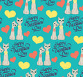 Seamless pattern with lovers cartoon cats hearts Royalty Free Stock Photo
