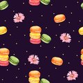 Seamless Pattern Macaroon and Pink Flower for Packaging ,Brown background for children clothing. Watercolor Hand drawn Royalty Free Stock Photo