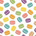 Seamless pattern with macaroons. Colorful macarons cake. Flat st