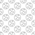 Seamless pattern made from doodle full moon. Isolated on white background. Vector stock illustration Royalty Free Stock Photo