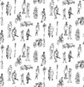 Seamless pattern made of hand drawn sketched elements, people, bicycle, lantern, bench.
