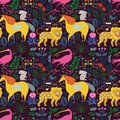 Seamless pattern with magic animals among plants and butterflies