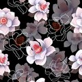 Seamless pattern with magnolia flowers on a black background. Vector illustration. Royalty Free Stock Photo